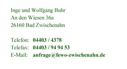 """Ihr Kontakt zur Ferienwohnung """"An den Wiesen"""" in Bad Zwischenahn"""